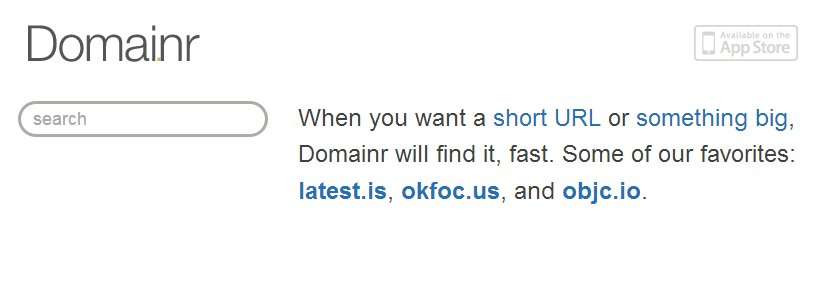 screenshot of domainr top page