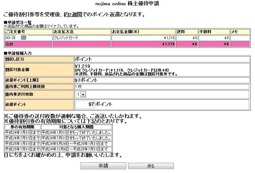 shareholder incentives of nojima online (1)